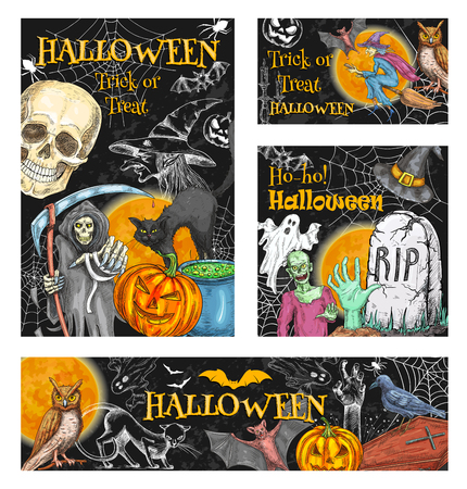 Halloween trick or treat holiday celebration monsters sketch posters of pumpkin lantern. Vector zombie hand or skeleton skull and death, coffin and tomb on grave, witch broom for Halloween party