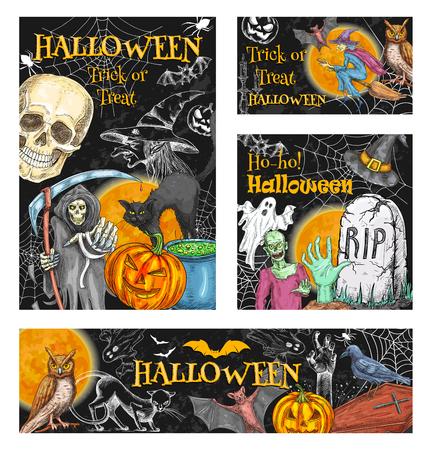 Halloween-truc of behandel de monsters van de vakantieviering schetsen affiches van pompoenlantaarn. Vector zombiehand of skeletschedel en dood, doodskist en graf op graf, heksenbezem voor Halloween-partij