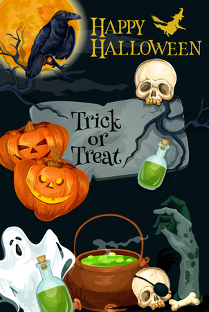 Happy Halloween trick or treat horror night poster of pumpkin lantern, witch cauldron and spooky ghost. Vector design of Halloween skull bone on tomb and zombie hand in grave Illustration