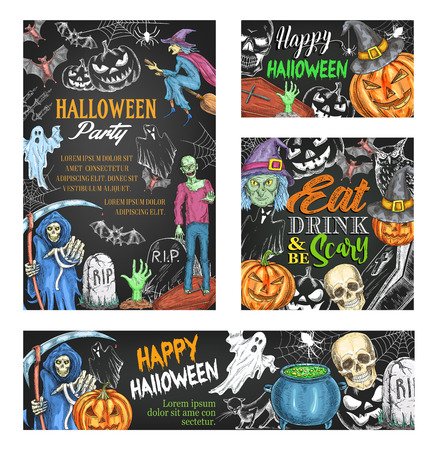 Happy Halloween Sketch Banner On Chalkboard. Scary Ghost And Halloween  Pumpkin In Witch Hat,