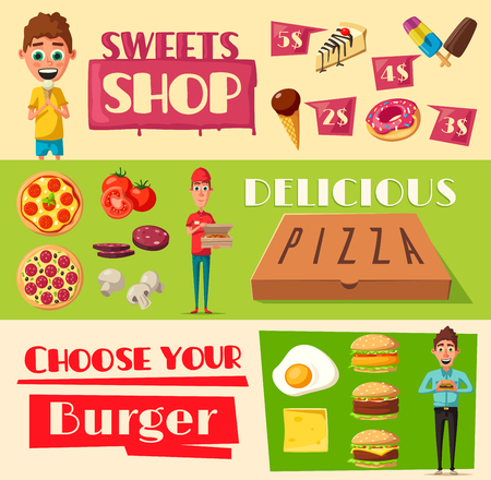 Fast food banners for pizzeria, burgers or sweet pastry shop. Vector set of pizza delivery man, cheeseburger or hamburger, chocolate and ice cream desserts for fastfood bistro price menu