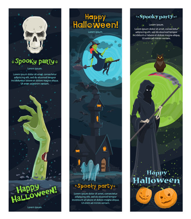 Halloween night horror party banner of autumn holiday. Ghost, bat and witch flying around haunted house, pumpkin lantern and skull, skeleton with death scythe and zombie for invitation flyer design Illustration