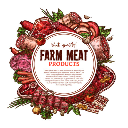Fresh farm meat poster sketch for butcher shop or butchery market. Vector beefsteak loin, pork tenderloin or mutton ribs and veal brisket filet or schnitzel, turkey and chicken or beef hind quarter Stok Fotoğraf - 87063564