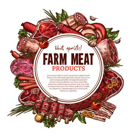 Verse boerderij poster poster schets voor slagerij of slagerij markt. Vector biefstuklende, varkenshaas of schaapribben en kalfsborstfilet of schnitzel, kalkoen en kip of achterste rundvlees
