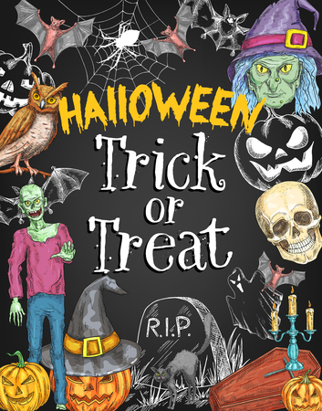 Halloween trick or treat holiday celebration sketch poster design. Vector Halloween zombie monster and skeleton skull, pumpkin lantern or witch and spooky ghost, tomb stone on grave and black bats