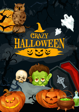 Halloween party poster for holiday trick or treat greeting or invitation design template. Vector pumpkin lantern, dead zombie monster, skull or witch and Halloween spooky tomb coffin on grave