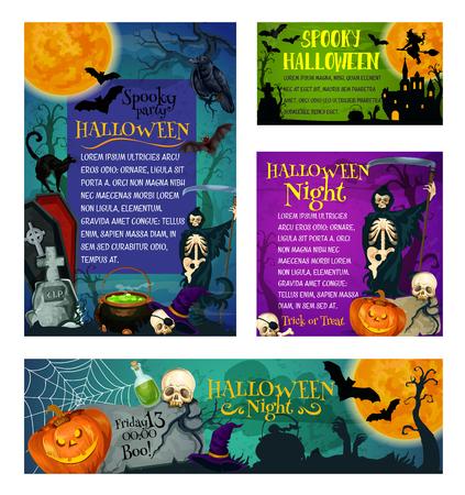 Halloween-partij of truc of behandelings vakantiegroet en uitnodigingsaffiches. Vector skelet schedel zombie oog en hand of griezelig spook op begraafplaats, Halloween pompoen lantaarn en heksenhoed of zwarte kat