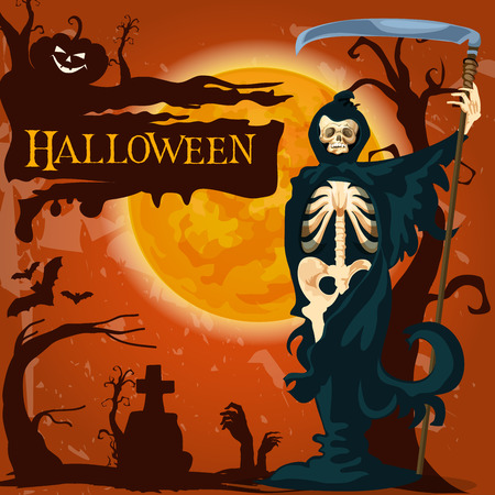 Halloween trick or treat holiday celebration poster of death skeleton with scythe on night cemetery. Vector Halloween zombie monster skull, pumpkin lantern or witch forest and tombstone on grave