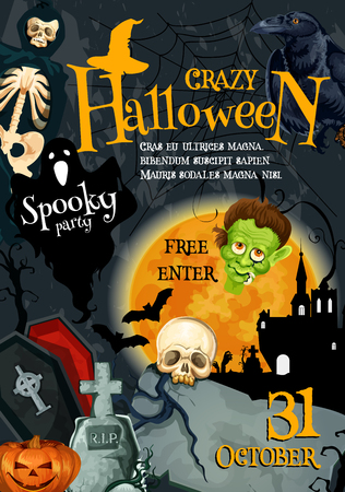 Halloween monsters party poster for trick or treat holiday night celebration. Vector pumpkin lantern, zombie hand or skeleton skull in coffin and tombstone on grave, spooky Halloween ghost and moon Illustration