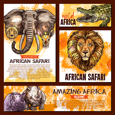Vector zoo sketch poster wild African animal