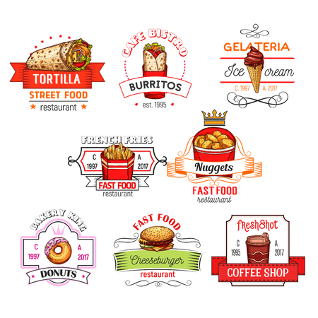 Fast food snacks vector restaurant icons sketch