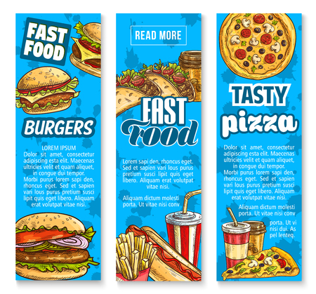 Fast food restaurant menu vector sketch banners