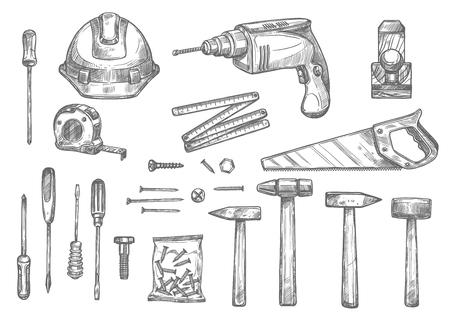 Vector sketch icons of repair work tools
