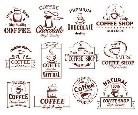 Vectorpictogrammenreeks koffiekoppen voor coffeeshop