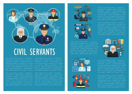 Vector civil servants judge police aviation poster Ilustração