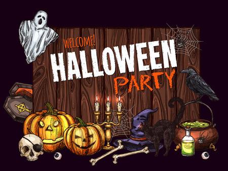 Halloween horror party sketch banner design
