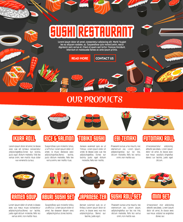 Vector menu for Japanese sushi food