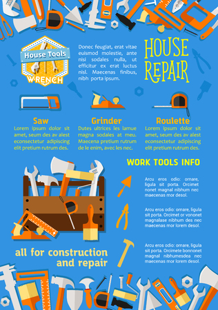 Vector poster of house repair work tools Illustration