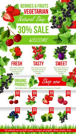 신선한 정원 딸기 시장 판매의 벡터 포스터