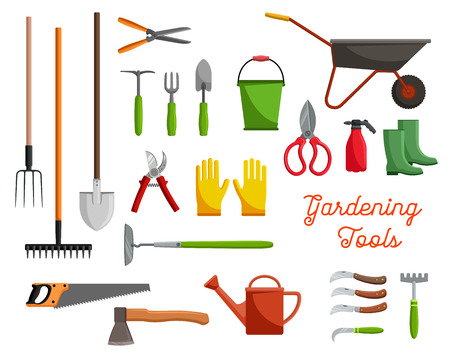 Vector icons of farm gardening tools Çizim