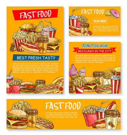 Fast food restaurant vector sketch posters
