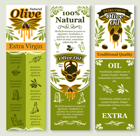 Vector olives banners for organic olive oil Çizim