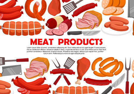 Vector poster of fresh meat products Çizim