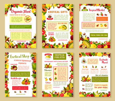 Vector posters set of tropical exotic fruits Illustration
