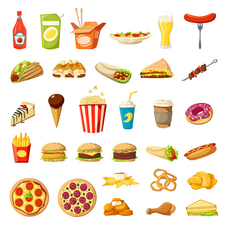 Vector Fast food icons isolated burgers sandwiches Stock Illustratie