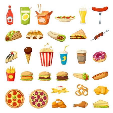 Vector Fast-food pictogrammen geïsoleerde hamburgersandwiches Vector Illustratie