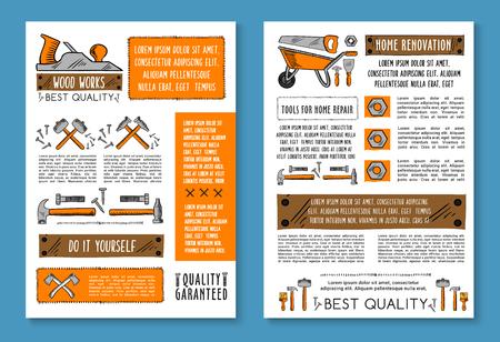Vector posters of home repair sketch work tools