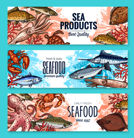 해산물 물고기 식품 시장을위한 벡터 스케치 배너 일러스트