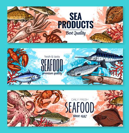 Vectorschetsbanners voor het voedselmarkt van zeevruchtenvissen
