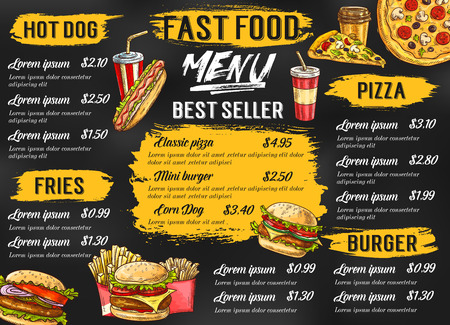 Fast-food restaurant vector menu schets sjabloon