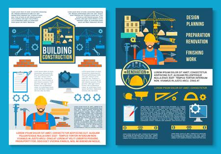 Affiche de vecteur pour la construction de maisons Banque d'images - 87339475
