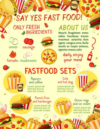 Fast food restaurant snacks vector menu template