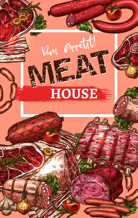 Vector poster for meat house butchery sketch