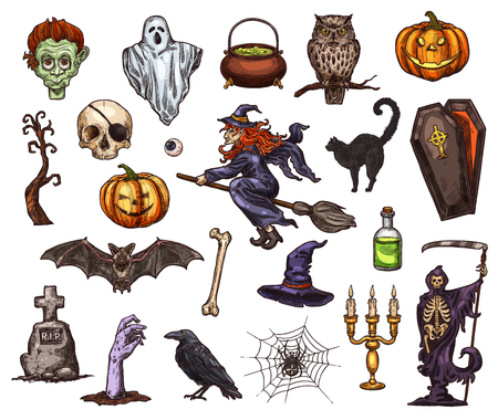 Halloween holiday horror night sketch icon design Illustration
