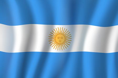 Vector 3D vlag van het nationale symbool van Argentinië Stock Illustratie