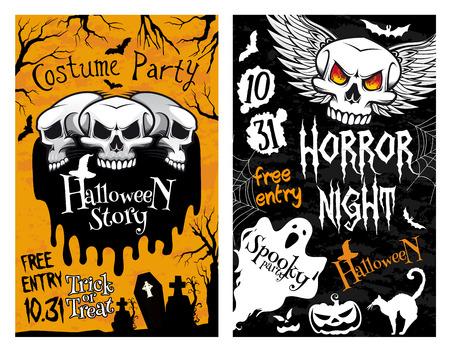 Halloween vector poster horror skull ghost