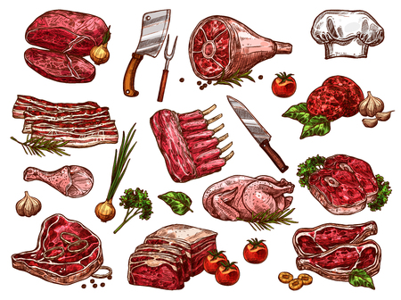 Vector sketch icons of fresh butchery meat