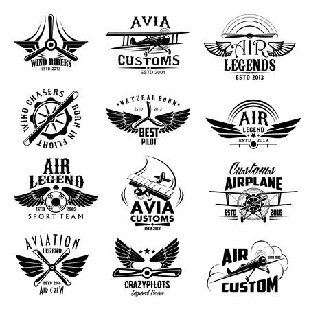 Aviation retro airplane sport team vector icons Vettoriali