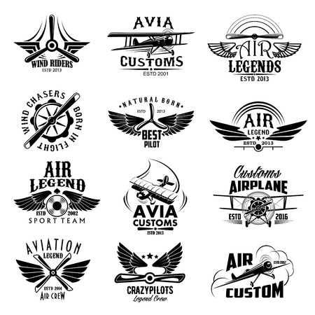 Aviation retro airplane sport team vector icons Stock Illustratie