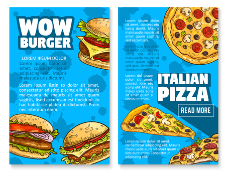 Vector fast food restaurant burger sketch poster Illustration