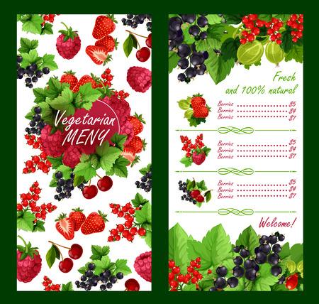 Vector price list for fresh garden berries market