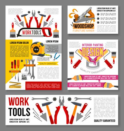 Vector posters of home repair handyman work tools