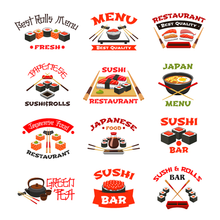 Vector icons for Japanese sushi food Illustration
