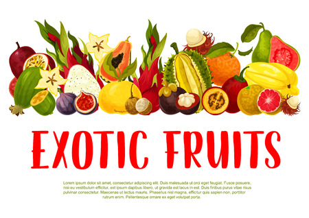 Vector poster for tropical exotic fruits Illustration