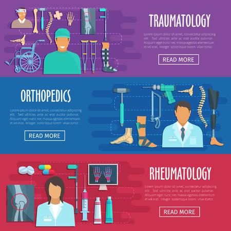 Vector médico pancartas de ortopedia, traumatología