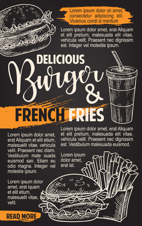 Fast food vector burgers menu sketch poster Illustration